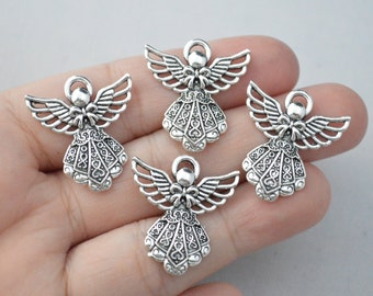 8 Pcs Angel Charms Angel Pendants Antique Silver Tone 42x38mm - YD0264