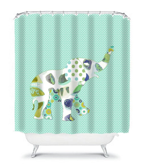 Items similar to kids shower curtain elephant shower for Elephant bathroom accessories