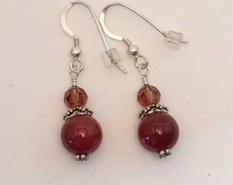 Healing Carnelian and Swarovski Crystal Earrings
