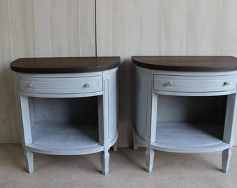 2 Neoclassical Demilune Nightstands Side Tables GRAY Curved Round
