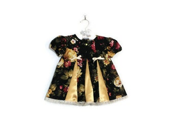 Girl Black Floral Dress 3-6M / Baby Clothes Gold 2 Piece