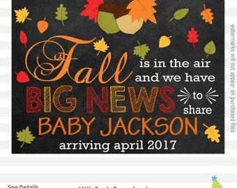 Fall Pregnancy Announcement | Fall is in the Air | Pregnancy Reveal Sign | Chalkboard Sign | Printable Chalkboard Sign | Design PA16002