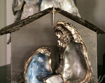 Oyster Nativity; Oyster Nativity Scene; Oyster Shell Nativity for Mantle or Tabletop; Grey Thistle Designs Oyster Nativity