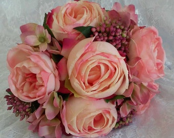 SALE! Bridal Bouquet Was 110 Now 50 Silk Bouquet Wedding Artificial Flowers Pink Roses
