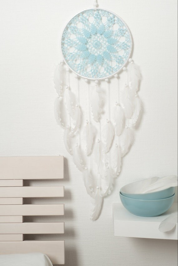 Large Light Blue White Dream Catcher Wedding By