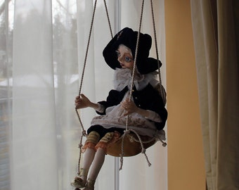 Art doll mobile, hanging mobile OOAK art doll, hanging decoration doll, handmade art doll, clay art doll, doll sculpture, collectible doll