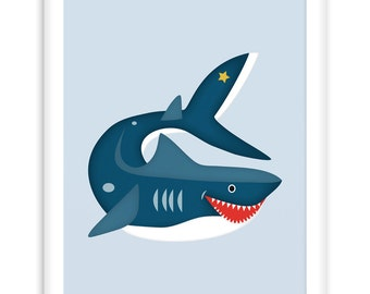 Nautical Poster Shark | Nautical Nursery Wall Art + Kid's Room | Sealife  |   Poster for modern nursery