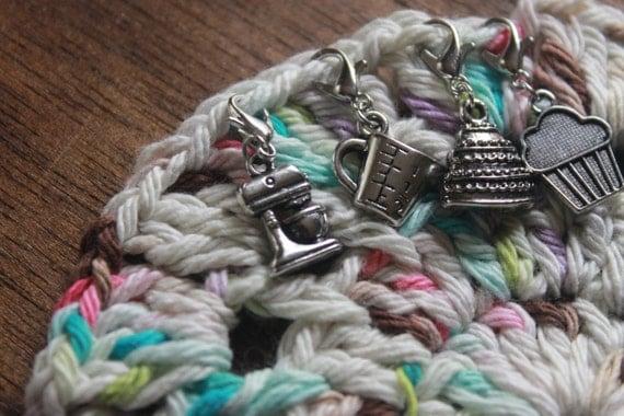 Crochet Stitch Keeper : BAKING Knitting Crochet Progress Keepers set of 4 PASTRY Stitch Marker ...