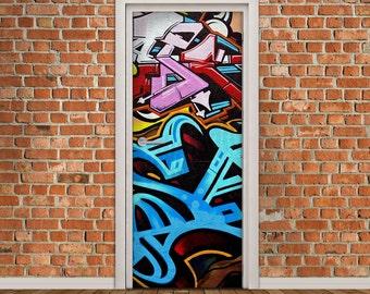Door Decal Self-Adhesive Vinyl Sticker - Graffiti Door Wrap