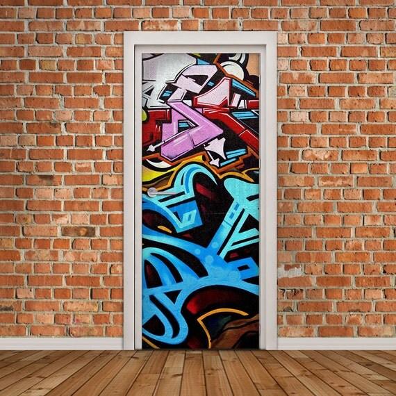 Door decal self adhesive vinyl sticker graffiti door wrap - Garage door vinyl wrap ...