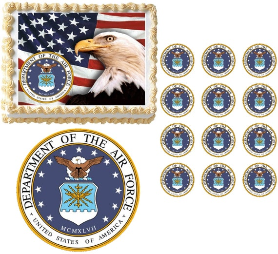 Military air force us air force edible cake topper image for Air force cakes decoration