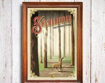 Shenandoah poster, Shenandoah National Park print, Virginia Poster, Deer poster, virginia gift poster, misty woods, Shenandoah deer