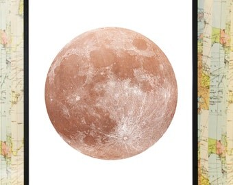 Copper full moon poster typography print art home