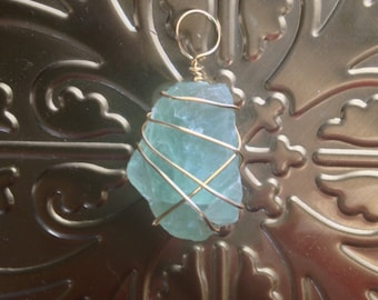 Teal Fluorite Pendant - Gold Wrapping