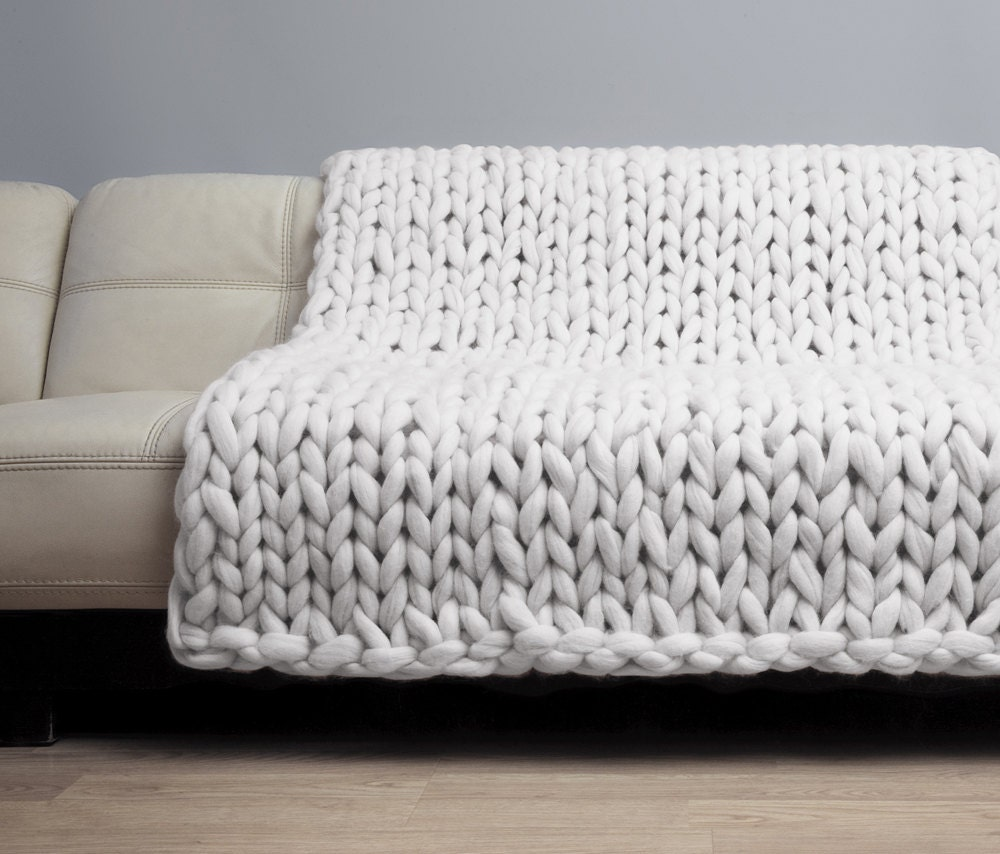 Knitting Wool Blanket : Chunky knit blanket merino wool bulky
