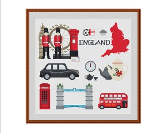 UK cross stitch, London cross stitch, England, London eye, Big Ben, London cab, Tower bridge, London bus, London phone booth, Royal Guards