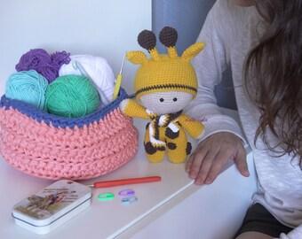 Handmade crochet amigurumi baby giraffe
