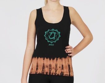 Women's Chakra Tank Top-Yoga Anahata Black,Tie-Dye,Scoop Neck,Fitted Top-Ladies Activewear Stretch Cotton,Slim Fit Garment.