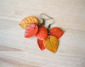 Leaf dangle earrings Autumn earrings Bohemian jewelry Fall leaves jewelry Orange earrings Yellow earrings Fall fashion Woodland earring leaf