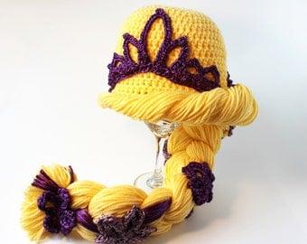 Disney Tangled Inspired Rapunzel Hat, Crochet, Toddler, 2T-4T, Child