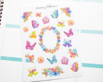 Butterflies Flowers Colorful Decorative (matte planner stickers)