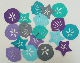 Under the Sea Die Cuts/ Purple Teal Sea Shells / Birthday Party Decorations / Confetti / Table Decoration / Wall Decoration / Little Mermaid