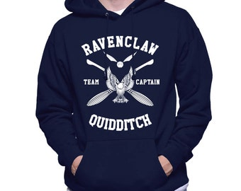 CAPTAIN - Ravenc Quidditch team Captain White print printed on Navy Hoodie