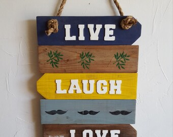 "Rustic, ""Live, Laugh, Love"" wall hanging"