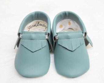 Baby Moccs, -Baby Moccasins, Baby Shoes, -Aqua Moccs, -Fringe Moccs