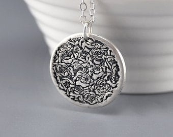 Rose Necklace Sterling Silver Necklace Silver Pendant Necklace Layering Rose Rosebud Necklace - Mother's Day Gift for Her