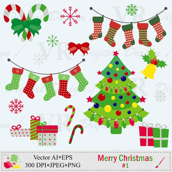 merry christmas clip art christmas tree clipart christmas stockings clip art digital download. Black Bedroom Furniture Sets. Home Design Ideas