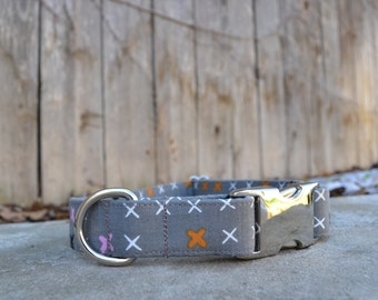 Grey and X's Dog Collar, Grey Dog Collar, X's Dog Collar, Orange, White, Pink, Black and Grey Dog Collar, Male Dog Collar