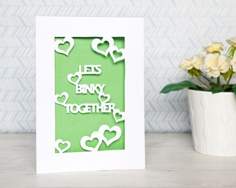 PaperCut Rabbit Valentines Card - Lets Binky Together.
