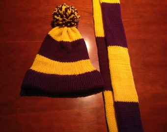 Purple and Gold knitted hat and scarf