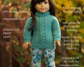 "Pretty Plaits-AG-PDF knitting pattern for 18"" dolls like American Girls--Grace's Gifts"