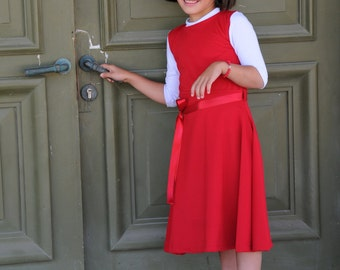 Red  Charming Party Dress for Girls. Classic style. Comfortable to wear and wash.