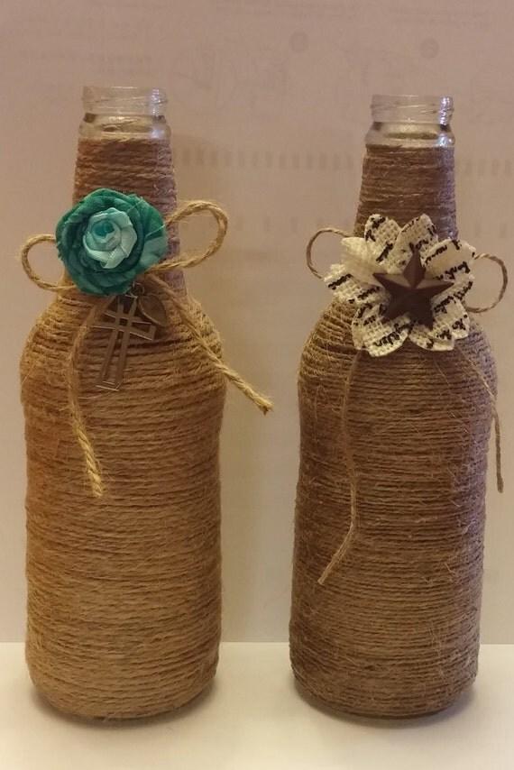 Items similar to twine wrapped glass bottles on etsy - Como decorar copas de cristal ...