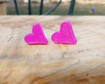 Pink heart stud earrings / 3d printed heart earrings
