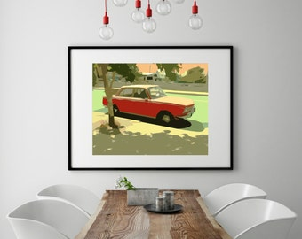 """Modern Wall Art, Mid Century Art Print, Abstract Print, Red Car, Vintage Car, Vintage Art, California, Colorful Art, """"Little Red"""""""