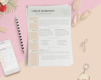 Elegant Résumé Template 2 Pages Resume. Free Cover Letter + 1 Page  References. CV