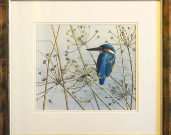 Kingfisher, original framed watercolour painting