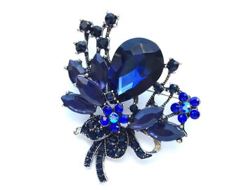 Navy Blue Rhinestone Brooch, Crystal Brooch, Wedding Accessories, Bridal Brooch, Brooch bouquet, Hair comb