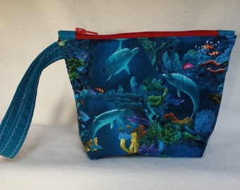 Dolphins Quilted Wristlet With Zipper Closure
