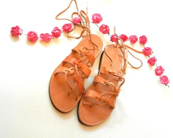 Free Shipping | Gladiator Sandals | Greek Lace-Up leather sandals ''Alcistis''