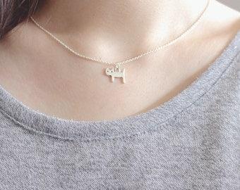 Cat Necklace, Cat Necklace Silver, Silver Cat Necklace, Cat Charm Necklace, Cat Pendant, Kitty Necklace, Tiny Cat Necklace, Cat Jewelry