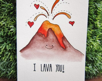 "Handmade Watercolour Card ""I Lava You"" (Original)"