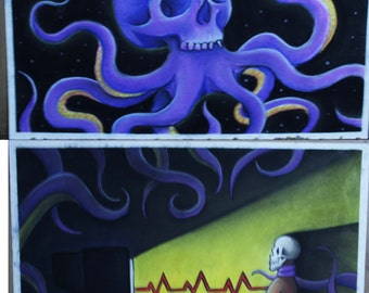 Mass Media Mind Control - Are your thoughts your own? - 2 panel chalk pastel illustration