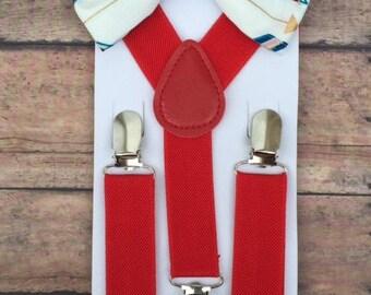 Bowtie & Suspender Set/ Arrow Bowtie/ Arrows/Baby Bowtie/ Toddler Bowtie/ Red Suspenders/ Toddler Suspenders/ Multicolored Arrows