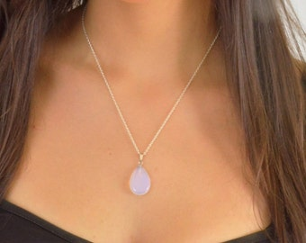 Natural opal stone necklace 925 sterling silver chain gift for mom, bridesmaids, necklace bridal opal jewelry, opalite opal necklace