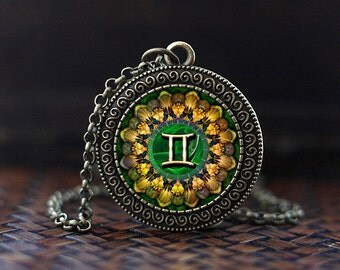 Gemini Zodiac Necklace, Gemini Pendant, Gemini Zodiac Jewelry, Zodiac Sign, Astrology Necklace, Gemini Zodiac art gift